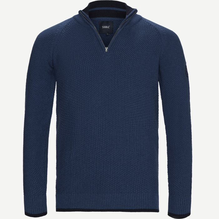 Ken Half-Zip Striktrøje - Strik - Regular - Denim